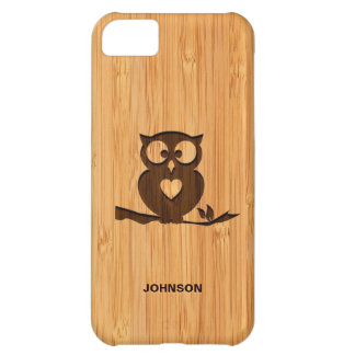 Bamboo Look & Engraved Cute Owl in Tree Cover For iPhone 5C