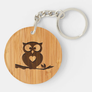 Bamboo Look & Engraved Cute Owl in Tree Double-Sided Round Acrylic Keychain