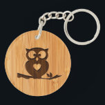 "Bamboo Look &amp; Engraved Cute Owl in Tree Keychain<br><div class=""desc"">This &quot;Bamboo Look &amp; Engraved Cute Owl in Treet&quot; is an unique design for you. 