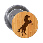 Bamboo Look & Engraved Elegant Standing Horse Button