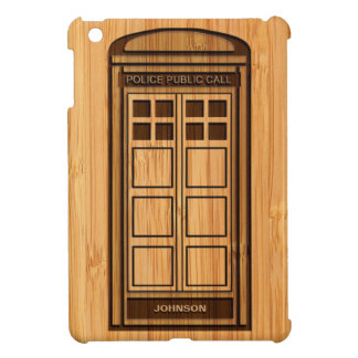 Bamboo Look & Engraved Funny Police Phone Call Box iPad Mini Covers