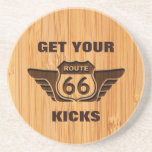 Bamboo Look & Engraved Get Your Kicks on Route 66 Coasters