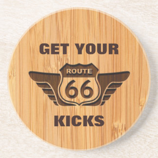 Bamboo Look & Engraved Get Your Kicks on Route 66 Sandstone Coaster