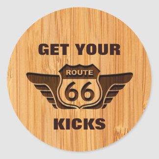Bamboo Look & Engraved Get Your Kicks on Route 66 Classic Round Sticker