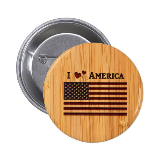 Bamboo Look & Engraved I Love America Flag 2 Inch Round Button