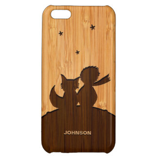 Bamboo Look & Engraved Little Prince and Fox iPhone 5C Cases