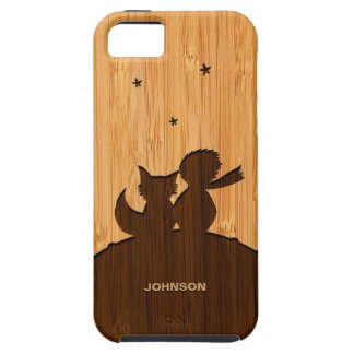 Bamboo Look & Engraved Little Prince with Fox iPhone 5 Covers