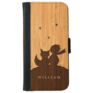 Bamboo Look & Engraved Little Prince with Fox iPhone 6 Wallet Case