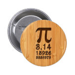 Bamboo Look & Engraved Pi Numbers Button