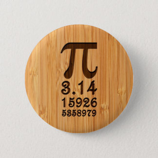 Bamboo Look & Engraved Pi Numbers Pinback Button
