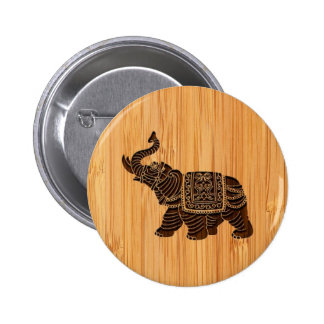 Bamboo Look & Engraved Retro Thai Elephant 2 Inch Round Button