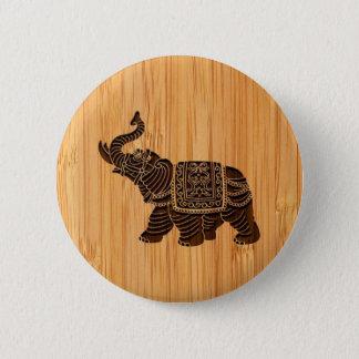 Bamboo Look & Engraved Retro Thai Elephant Button