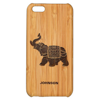 Bamboo Look & Engraved Retro Thai Elephant Cover For iPhone 5C