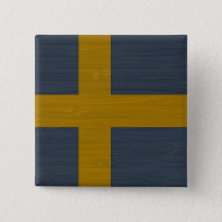 Bamboo Look & Engraved Sweden Swedish Sverige Flag Button