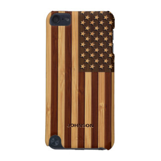 Bamboo Look & Engraved Vintage American USA Flag iPod Touch (5th Generation) Case