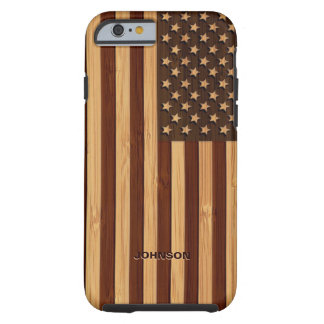 Bamboo Look & Engraved Vintage American USA Flag Tough iPhone 6 Case