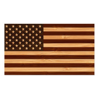 Bamboo Look & Engraved Vintage American USA Flag Double-Sided Standard Business Cards (Pack Of 100)