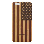 Bamboo Look & Engraved Vintage American USA Flag Glossy iPhone 6 Case