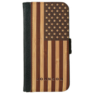 Bamboo Look & Engraved Vintage American USA Flag Wallet Phone Case For iPhone 6/6s