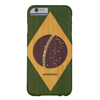 Bamboo Look & Engraved Vintage Brazil Flag iPhone 6 Case