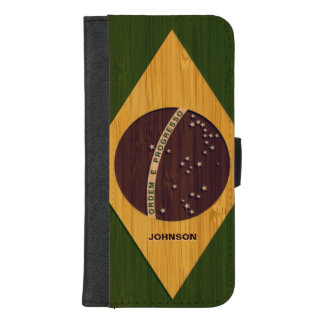 Bamboo Look & Engraved Vintage Brazil Flag iPhone 8/7 Plus Wallet Case