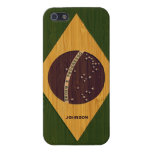 Bamboo Look & Engraved Vintage Brazil Flag iPhone 5 Cover