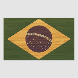 Bamboo Look & Engraved Vintage Brazil Flag Rectangular Sticker