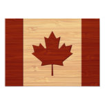 """Bamboo Look & Engraved Vintage Canada Flag 5"""" X 7"""" Invitation Card"""