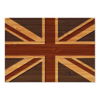 Bamboo Look & Engraved Vintage UK Flag Union Jack Card