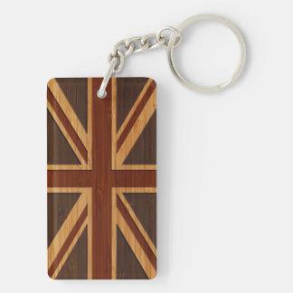 Bamboo Look & Engraved Vintage UK Flag Union Jack Double-Sided Rectangular Acrylic Keychain