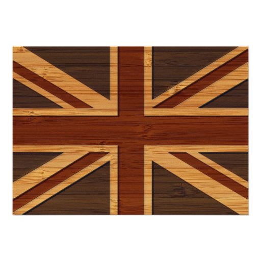 Bamboo Look & Engraved Vintage UK Flag Union Jack Cards