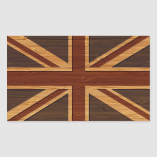 Bamboo Look & Engraved Vintage UK Flag Union Jack Rectangular Sticker