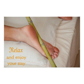 Bamboo Massage On Bottom of foot Poster