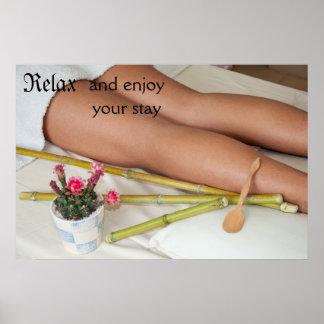 Bamboo Massage Tools Beside Legs Poster