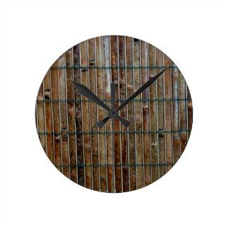 bamboo mat background round clock