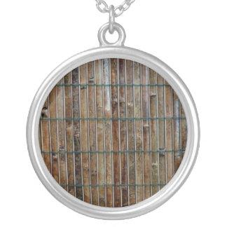 bamboo mat background round pendant necklace