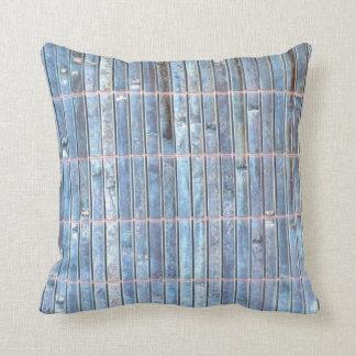 bamboo mat blue background throw pillow