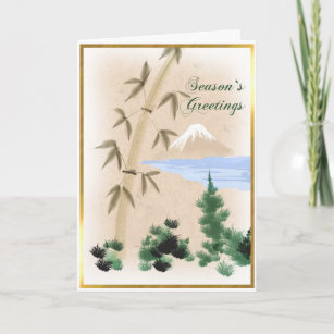 Japanese greetings gifts on zazzle bamboo mt fuji japanese christmas greeting card m4hsunfo