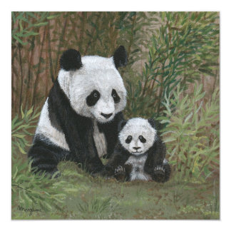Bamboo Nest Panda Bear Card Custom Invitation