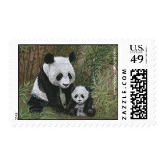 Bamboo Nest Panda Bear medium postage stamp