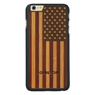 Bamboo Pattern Engraved Vintage American USA Flag Carved Maple iPhone 6 Plus Slim Case