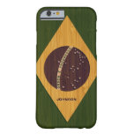 Bamboo Pattern & Engraved Vintage Brazil Flag Barely There iPhone 6 Case