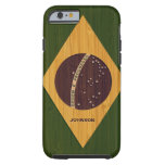 Bamboo Pattern & Engraved Vintage Brazil Flag Tough iPhone 6 Case