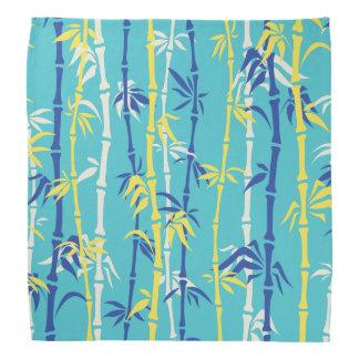 Bamboo pattern turquoise, blue, yellow custom bandanas