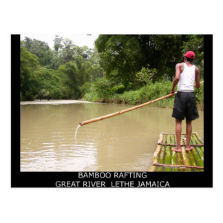 Bamboo Rafting Great River Lethe Jamaica Postcard