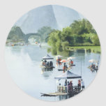 """Bamboo Rafting to Shangri La"" China Watercolor Round Sticker"