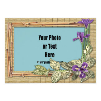 Bamboo Rattan Orchids & Tropical Foliage Frame Card