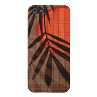 Bamboo & Red Moon Tropical Customized Template Cover For iPhone SE/5/5s