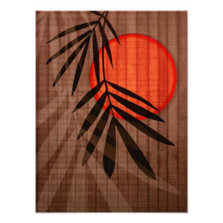 Bamboo & Red Moon Tropical Customized Template Photo Print