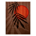 Bamboo & Red Moon Tropical Customized Template Print